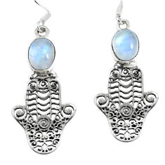 Clearance Sale- Natural rainbow moonstone 925 silver hand of god hamsa earrings d30166