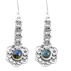 Clearance Sale- Natural blue labradorite 925 sterling silver dangle earrings d30174