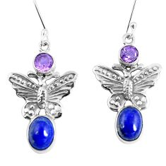 Natural blue lapis lazuli amethyst 925 silver butterfly earrings d30181