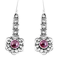 Natural red garnet 925 sterling silver dangle earrings jewelry d30182