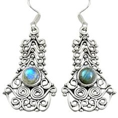 Natural blue labradorite 925 sterling silver dangle earrings d30184