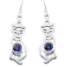 925 sterling silver multi color rainbow topaz cat earrings jewelry d30185