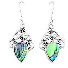 Natural green abalone paua seashell 925 silver dangle earrings d30186