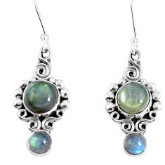Clearance Sale- Natural blue labradorite 925 sterling silver dangle earrings d30187