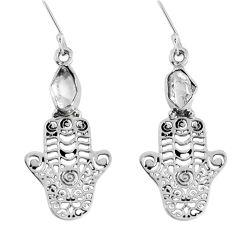 Natural white herkimer diamond 925 silver hand of god hamsa earrings d30188