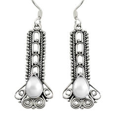 Clearance Sale- Natural white pearl 925 sterling silver dangle earrings jewelry d30189