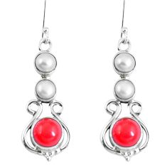 Clearance Sale- Red coral pearl 925 sterling silver dangle earrings jewelry d30190