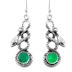 Clearance Sale- Natural green chalcedony 925 sterling silver snake earrings d30191