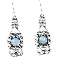 Natural rainbow moonstone 925 sterling silver dangle earrings d30192