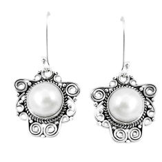 Clearance Sale- Natural white pearl 925 sterling silver dangle earrings jewelry d30193
