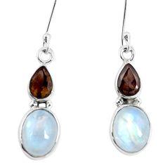 Natural rainbow moonstone smoky topaz 925 silver dangle earrings d30194