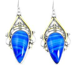 Natural blue botswana agate 925 silver 14k gold dangle earrings d30198