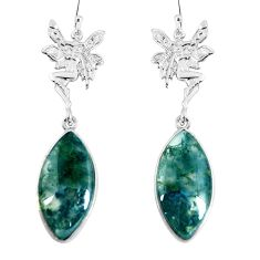 925 silver natural green moss agate angel wings fairy earrings jewelry d30199
