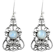Clearance Sale- Natural rainbow moonstone 925 sterling silver dangle earrings d30202