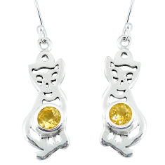 Clearance Sale- Natural yellow citrine 925 sterling silver cat earrings jewelry d30207