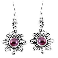 Natural red garnet 925 sterling silver dangle earrings jewelry d30208