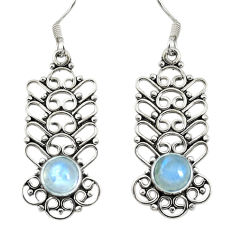 Clearance Sale- 925 sterling silver natural rainbow moonstone dangle earrings jewelry d30209