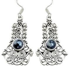 Natural black australian obsidian 925 silver dangle earrings jewelry d30210