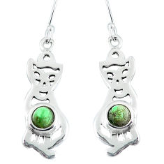 Clearance Sale- Green copper turquoise 925 sterling silver cat earrings jewelry d30231