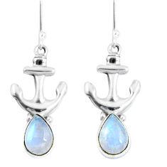 Natural rainbow moonstone 925 silver dangle anchor charm earrings d30243