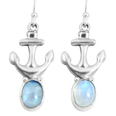 925 sterling silver natural rainbow moonstone anchor charm earrings d30280
