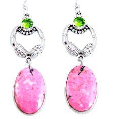 Clearance Sale- Natural pink rhodonite in black manganese 925 silver dangle earrings d30281