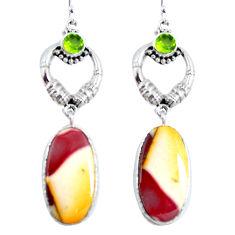 Clearance Sale- Natural brown mookaite peridot 925 silver dangle earrings d30282