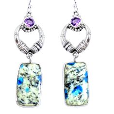Natural k2 blue (azurite in quartz) 925 silver dangle earrings jewelry d30285