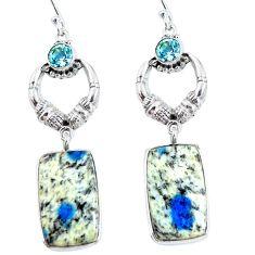 Natural k2 blue (azurite in quartz) 925 silver dangle earrings d30288