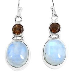 12.71cts natural rainbow moonstone smoky topaz 925 silver dangle earrings d30307