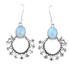 Clearance Sale- 8.44cts natural rainbow moonstone 925 sterling silver dangle earrings d30317