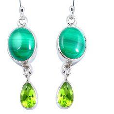 Natural green malachite (pilot's stone) 925 silver dangle earrings d30331