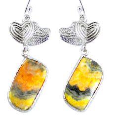 Clearance Sale- Natural bumble bee australian jasper 925 silver couple hearts earrings d30333