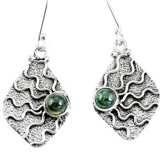 Clearance Sale- Natural green tourmaline 925 sterling silver dangle earrings d30349