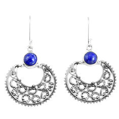 Clearance Sale- Natural blue lapis lazuli 925 sterling silver dangle earrings d30350