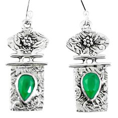 Clearance Sale- Natural green chalcedony 925 sterling silver dangle earrings d30352