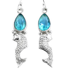 Clearance Sale- Natural blue topaz 925 sterling silver fish earrings jewelry d30355