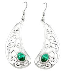 Clearance Sale- 925 silver natural green malachite (pilot's stone) dangle earrings jewelry d3052