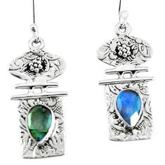 Clearance Sale- Natural blue labradorite 925 sterling silver dangle earrings d30582