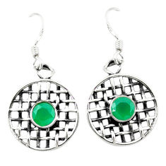 Clearance Sale- 925 sterling silver natural green chalcedony dangle earrings jewelry d3064