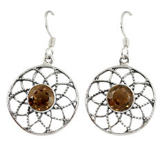 Clearance Sale- ver brown smoky topaz dangle earrings jewelry d3075