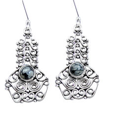 Natural black australian obsidian 925 silver dangle earrings d30888