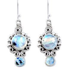 Natural rainbow moonstone 925 sterling silver dangle earrings d30889