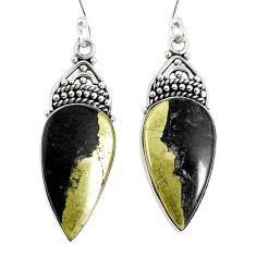 Golden pyrite in magnetite (healer's gold) 925 silver dangle earrings d30917