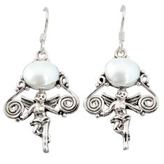 Clearance Sale- Natural white pearl 925 sterling silver cupid angel wings earrings jewelry d3106