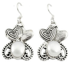 Clearance Sale- Natural white pearl 925 sterling silver couple hearts earrings jewelry d3137