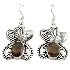 Clearance Sale- 925 sterling silver brown smoky topaz couple hearts earrings jewelry d3139