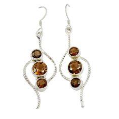 Clearance Sale- Brown smoky topaz 925 sterling silver dangle earrings jewelry d3279
