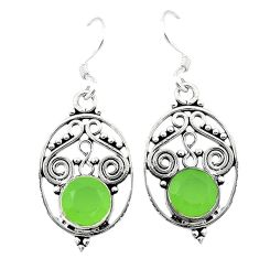 Natural green prehnite 925 sterling silver dangle earrings jewelry d3287
