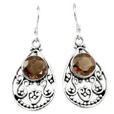 Clearance Sale- Brown smoky topaz 925 sterling silver dangle earrings jewelry d3295